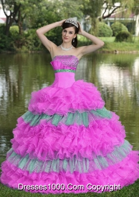 Beaded Strapless Tiered Sweet Quinceanera Gowns for Cheap