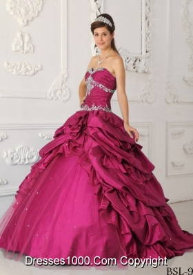 Classical Princess Sweetheart Pick-ups and Appliques 2014 Quinceanera Dresses
