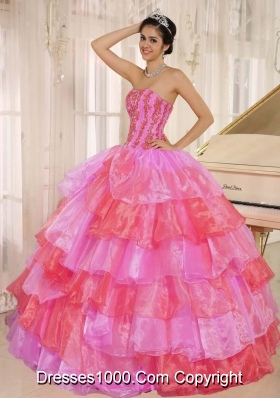 Customize Ruflfled Layers and Appliques For Hot Pink and Red Quinceanera Dress