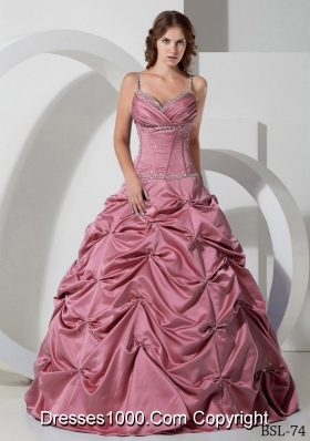 Elegant Spaghetti Straps Princess Quinceanera Dress with Beading
