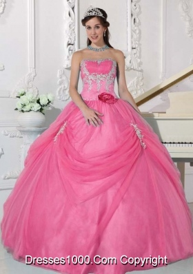 Pink Strapless Sweet 16 Dresses with Appliques and Hand Made Flowers
