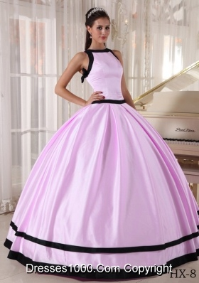 Simple Puffy Bateau Pink and Black Quinceanera Dress