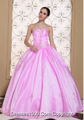 Sweet 2014 Pink Quincenera Dresses Sweetheart Beaded Decorate Bust