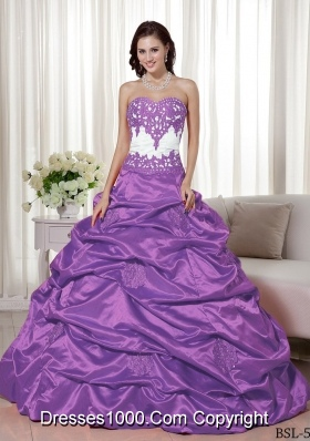 A-line Sweetheart Appliques and Pick-ups 2014 Dresses For a Quince