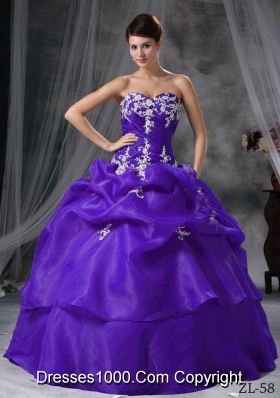 Ball Gown Sweetheart Appliques and Pick-ups Quinceanera Dress