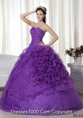 Ball Gown Sweetheart Simple Quinceanera Dress with Beading and Ruching Ruffles