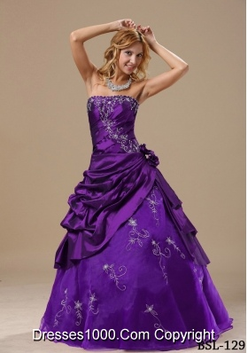 Custom Made Strapless Embroidery and Hand Made Flowers Sweet Sixteen Dresses