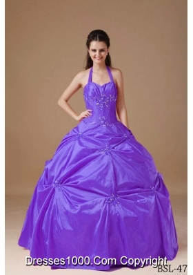 Modest Purple Ball Gown Halter Beading Quinceanera Dresses Gowns