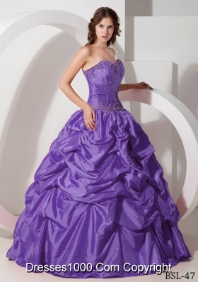 Purple Ball Gown Strapless Sweet 16 Dresses with Beading and Pick-ups