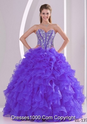 Purple Ball Gown Sweetheart Beaded Decorate Sweet 15 Dresses with Ruffles