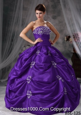 Purple Strapless Quinceaneras Dress with Pick-ups and Appliques