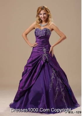 Purple Sweetheart Princess Sweet 15 Dresses with Embroidery and Pick-ups