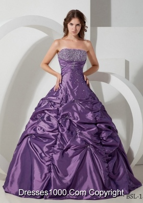 Strapless Taffeta Beading and Pick-ups for Purple Quinceaneras Dress