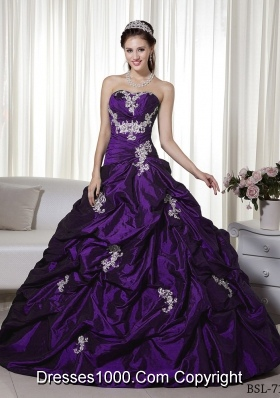 A-line Strapless Appliques Quinceanera Dress with Pick-ups