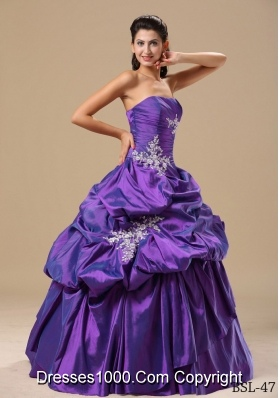 Appliques Decorate Bodice Strapless Pick-ups 2014 Quinceaneras Dress