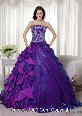 Ball Gown Strapless Sweet Sixteen Quinceanera Dresses with Appliques and Ruffles