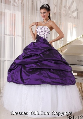 Beautiful Strapless Taffeta Embroidery Sweet 15 Dresses with Pick-ups and Embroidery