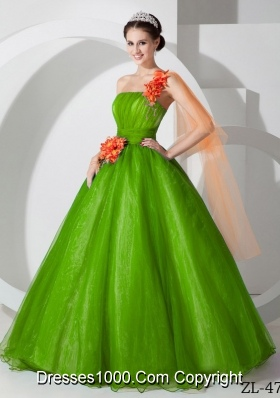 Discount One Shoulder Hand Made Flowers Long Princess Quinceanera Dresses