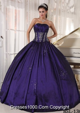 Discount Strapless Taffeta Embroidery and BeadingQuinceanera Dress