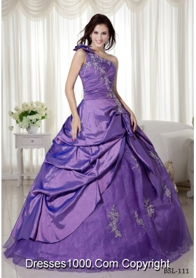 Elegant One Shoulder Taffeta Appliques Quinceaneras Dress