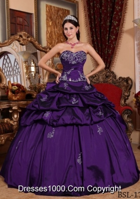 Elegant Sweetheart Taffeta Appliques for Purple Dress For Quinceanera