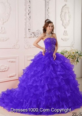 Organza Ruffles and Embroidery for Purple Quinceanera Dresses with Brush Train