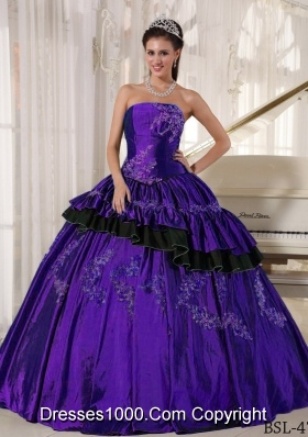 Pretty Strapless Taffeta Purple Sweet 15 Dresses with Beading