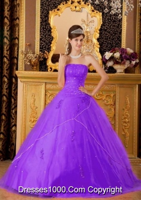 Princess Strapless Tulle Appliques for Purple  Sweet 15 Dresses