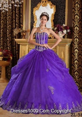 Princess Sweetheart Organza Purple Sweet 16 Dresses with Appliques