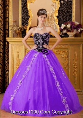 Purple and Black Princess Sweetheart Quinceanera Gowns with Appliques