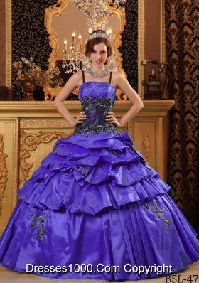 Purple Ball Gown Straps Quinceanera Gowns with Appliques