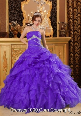 Purple Organza Sweet Sixteen Dresses with Appliques and Ruffles