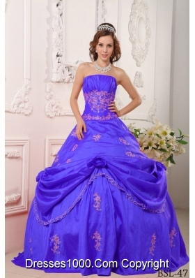 Purple Princess Strapless Taffeta Quinceanera Dresses with Beading and Appliques