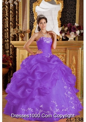 Purple Strapless Embroidery Organza Sweet Sixteen Dresses with Pick-ups