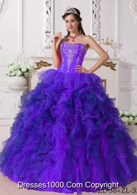 Purple Sweetheart Organza Embroidery Sweet 16 Dresses with Embroidery