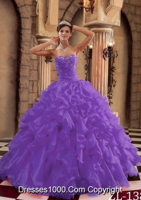 Purple Sweetheart Organza Sweet 16 Dresses with Ruffles and Beading