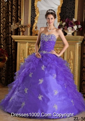 Purple Sweetheart Quinceanera Gowns with Appliques and Ruffles
