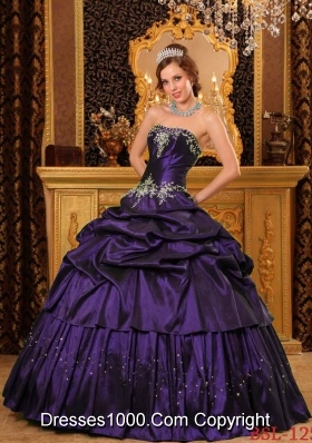 Remarkable Strapless Taffeta Purple Quinceaneras Dresses with Appliques and Pick-ups