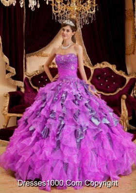 Sweetheart Beading Leopard and Organza Sweet Sixteen Dresses with Ruffles