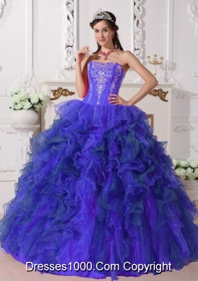 Sweetheart Sweet 16 Dresses with Organza Ruffles and Embroidery