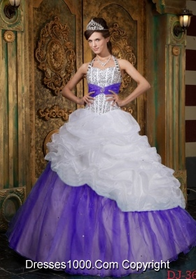 White and Purple Princess Halter  Quinceanera Gowns with Beading and Pick-ups