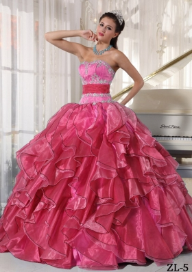 2014 Strapless Ball Gown Quinceanera Dress with Organza Appliques