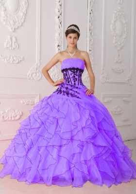2014 Sweet Strapless Appliques and Ruffles Purple Quinceanera Dress