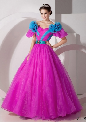 A-line V-neck Quinceanera Dresses with  Organza Hand Made Flowers