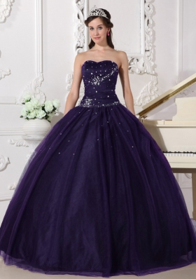 Ball Gown Dark Purple Sweetheart Tulle Rhinestone Quinceanera Dress