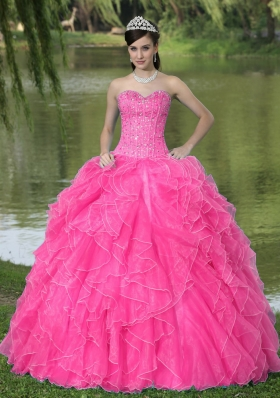Beaded Ruffles Layered Decorate Famous Designer Quinceanera Dress With Sweetheart Coral Red Skirt