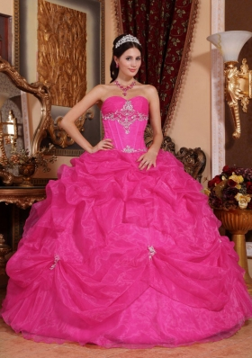 Cheap Hot Pink Ball Gown Sweetheart Quinceanera Dress with Beading
