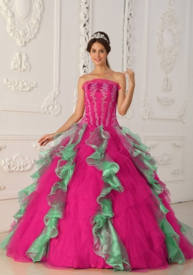 Coral Red and Green Ball Gown Strapless Quinceanera Dress with  Appliques Beading