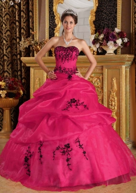 Coral Red Ball Gown Sweetheart Quinceanera Dress  with Organza Embroidery