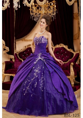 Discount Sweetheart Taffeta and Tulle Appliques for Purple Sweet 16 Dresses